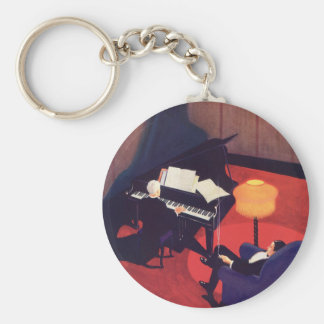Vintage Art Deco Music Pianist Piano Player Lounge Basic Round Button Key Ring