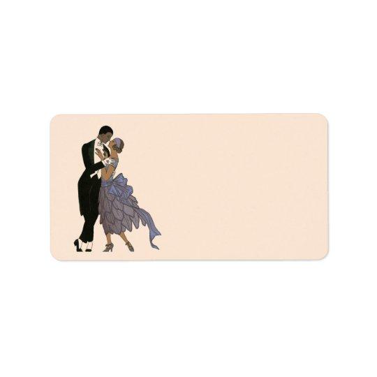 Vintage Art Deco Newlyweds, Bride and Groom Dance Label