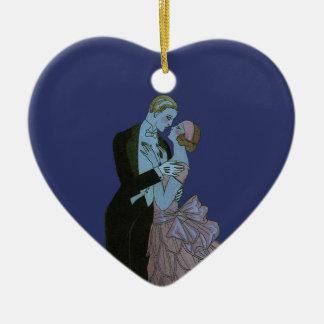 Vintage Art Deco Newlyweds, Love Wedding Dance Ceramic Heart Decoration