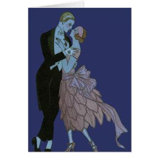 Vintage Art Deco, Newlyweds Love Wedding Dance Greeting Card