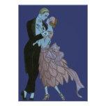 Vintage Art Deco, Newlyweds Love Wedding Dance Custom Invitations