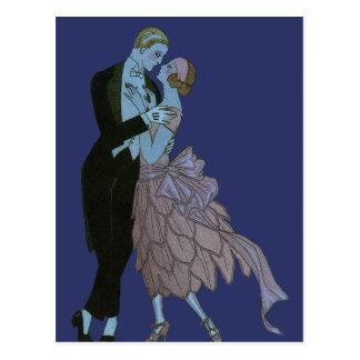 Vintage Art Deco, Newlyweds Love Wedding Dance Postcard