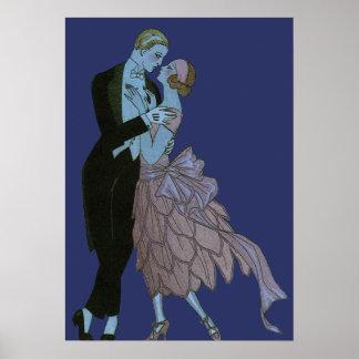 Vintage Art Deco Newlyweds Love Wedding Dance Posters