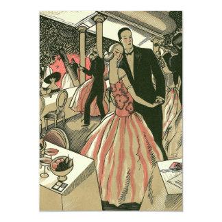 Vintage Art Deco Newlyweds Love Wedding Invitation