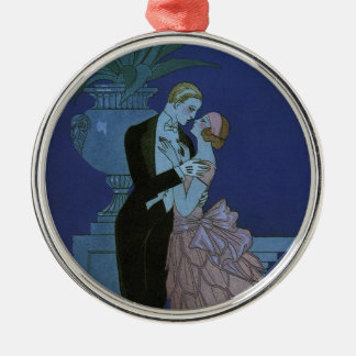 Vintage Art Deco Newlyweds, Oui by George Barbier Silver-Colored Round Decoration