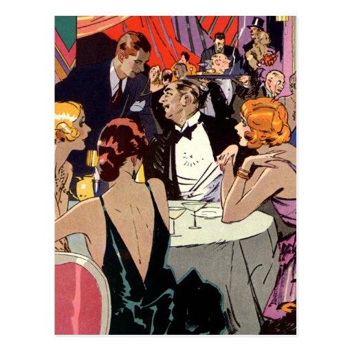 Vintage Art Deco Nightclub Cocktail Party Postcard