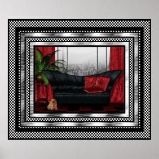 Vintage Art Deco Poster Silver Red Black Sofa Cat