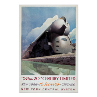 Vintage Art Deco Railroad Travel, 1938 Poster