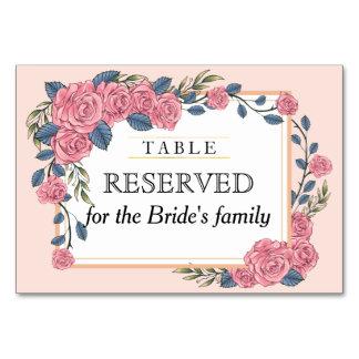 Vintage art deco rose frame wedding reserved table card