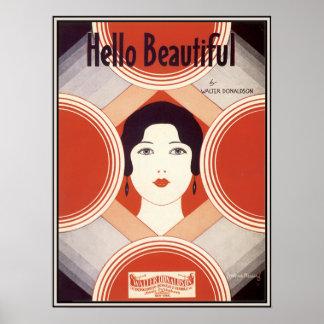 Vintage Art Deco Sheet Music Hello Beautiful Print