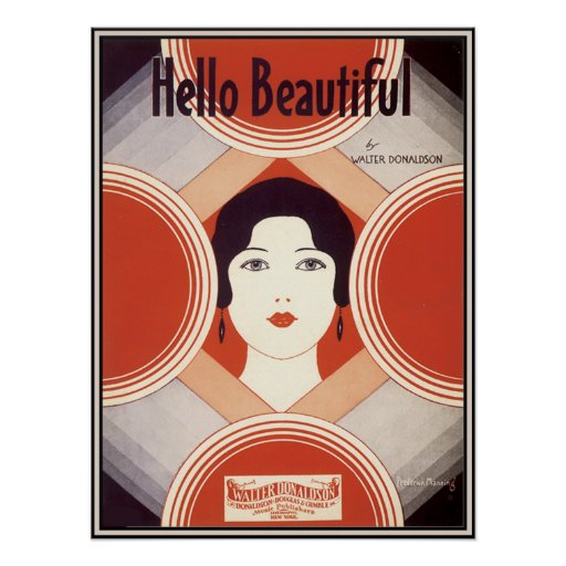 Vintage Art Deco Sheet Music Hello Beautiful Poster Zazzle