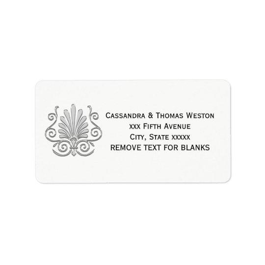 Vintage Art Deco Silver Plume Arabesque Label