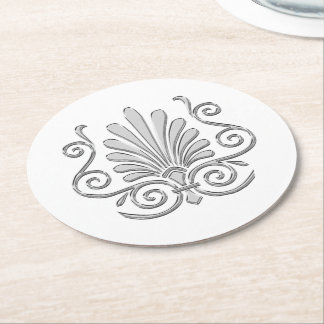 Vintage Art Deco Silver Plume Arabesque Round Paper Coaster