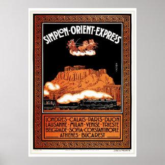 Vintage Art deco Simplon Orient Express Athens Poster