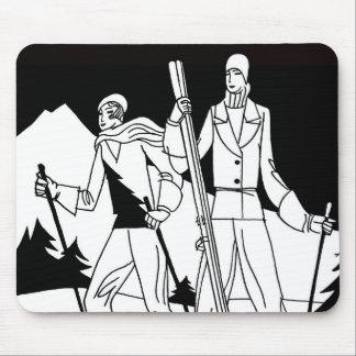 Vintage Art Deco Ski Couple Skiers Illustration Mouse Pad