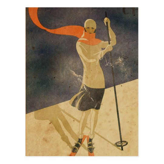 Vintage Art Deco Ski girl postcard
