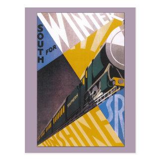 Vintage Art Deco Southern Railway travel ad Postcards