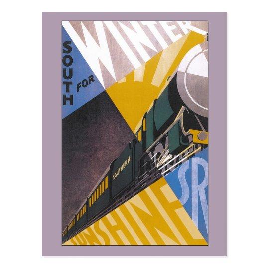 Vintage Art Deco Southern Railway travel ad Postcard
