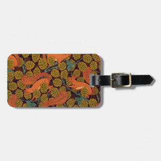 Vintage Art Deco Squirrel and Leaves Design Luggage Tag
