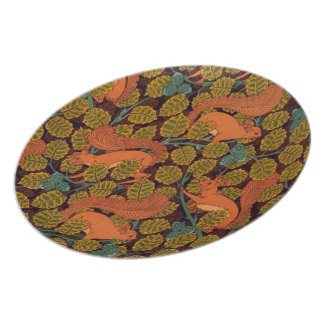 Vintage Art Deco Squirrel and Leaves Design Plate
