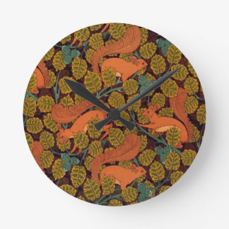Vintage Art Deco Squirrel and Leaves Design Round Clock
