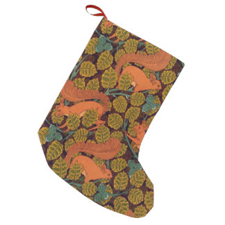 Vintage Art Deco Squirrel and Leaves Small Christmas Stocking