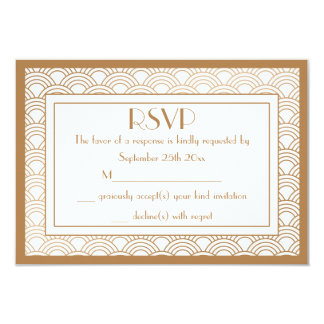 Vintage Art Deco Style Fans Wedding RSVP Response 9 Cm X 13 Cm Invitation Card