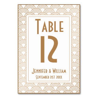 Vintage Art Deco Style Fans Wedding Table Number Table Cards