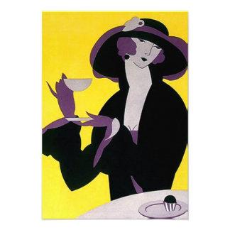 Vintage Art Deco Tea Invitations High Afternoon