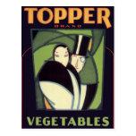 Vintage Art Deco Topper Vegetable Label Art Post Card