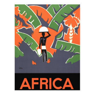 Vintage Art Deco Travel, Native in African Jungle Postcard
