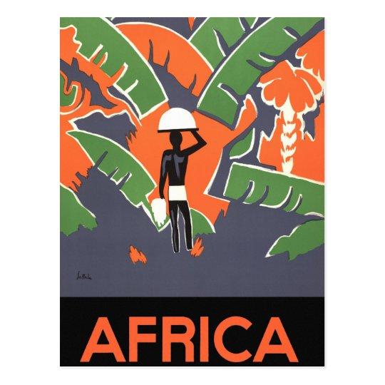 Vintage Art Deco Travel, Native in African Jungle Postcard