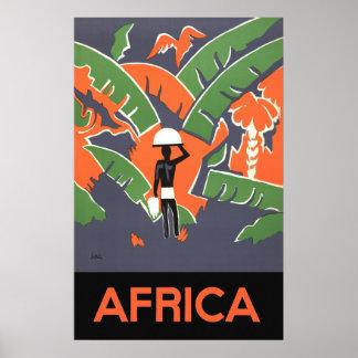 Vintage Art Deco Travel Poster, African Jungle