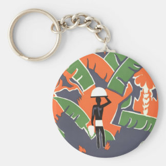 Vintage Art Deco Travel Poster, African Jungle Basic Round Button Key Ring