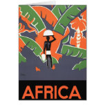 Vintage Art Deco Travel Poster, African Jungle Card
