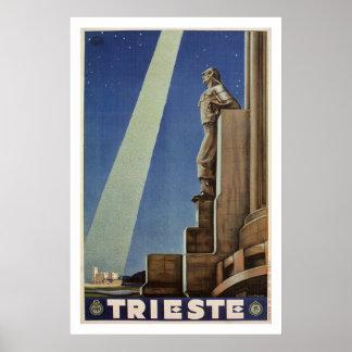 Vintage Art Deco Trieste Italian travel poster