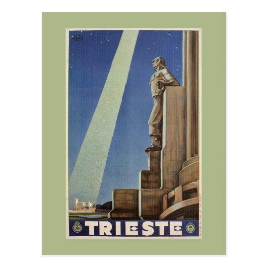 Vintage Art Deco Trieste Italian travel poster Postcard