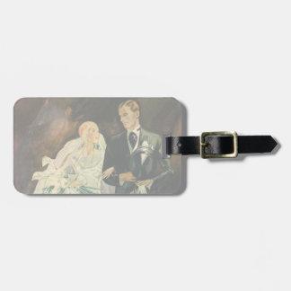 Vintage Art Deco Wedding Bride and Groom Newlyweds Luggage Tag