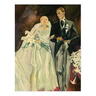 Vintage Art Deco Wedding Bride and Groom Newlyweds Postcard