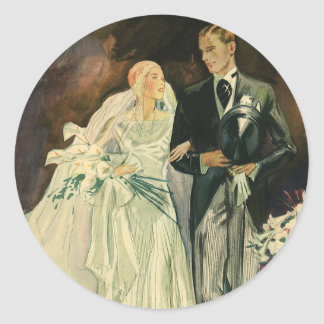 Vintage Art Deco Wedding Bride and Groom Newlyweds Round Sticker
