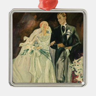 Vintage Art Deco Wedding Bride and Groom Newlyweds Silver-Colored Square Decoration