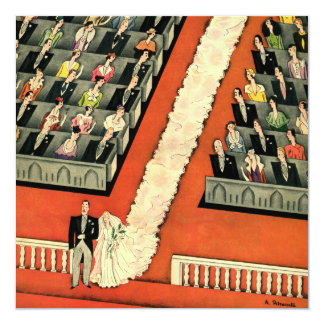 Vintage Art Deco Wedding, Bride Groom Newlyweds 13 Cm X 13 Cm Square Invitation Card