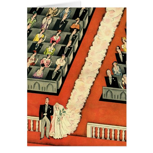 Vintage Art Deco Wedding, Bride Groom Newlyweds Card