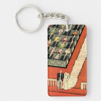 Vintage Art Deco Wedding, Bride Groom Newlyweds Rectangle Acrylic Key Chains
