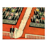 Vintage Art Deco Wedding, Bride Groom Newlyweds Postcard