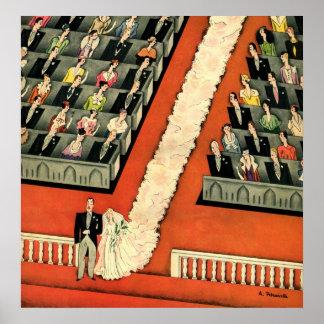 Vintage Art Deco Wedding Bride Groom Newlyweds Print