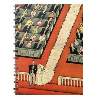 Vintage Art Deco Wedding, Bride Groom Newlyweds Spiral Notebooks