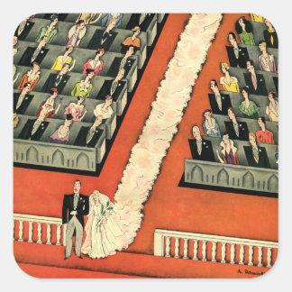 Vintage Art Deco Wedding Bride Groom Newlyweds Square Stickers