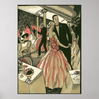 Vintage Art Deco Wedding Newlyweds First Dance Print
