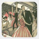 Vintage Art Deco Wedding, Newlyweds First Dance Square Sticker